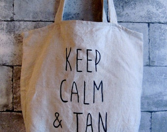 """Tote bag """"Keep calm and tan"""""""