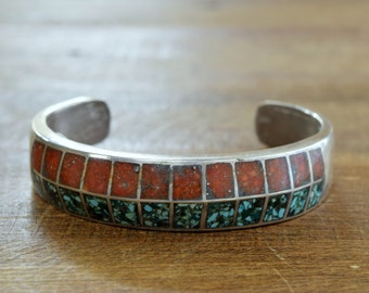 Vintage Navajo Turquoise and Coral Chip Inlay Sterling Silver Cuff Bracelet