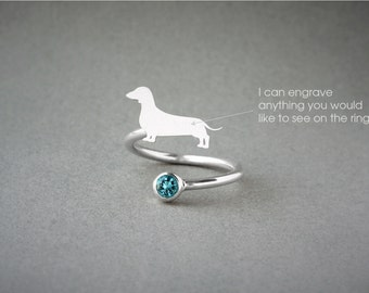 Adjustable Spiral DACHSHUND BIRTHSTONE Ring / Doxie Shorthaired Birthstone Ring / Dachshund Ring / Dog Ring