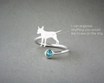 Adjustable Spiral PINSCHER BIRTHSTONE Ring / Pinscher Birthstone Ring / Birthstone Ring / Dog Ring