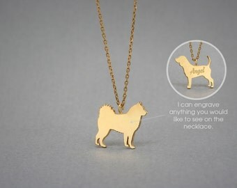 14K Solid GOLD Tiny SIBERIAN HUSKY Name Necklace - Siberian Husky Necklace - Gold Dog - 14K Gold or Rose Plated on 14k Gold Necklace