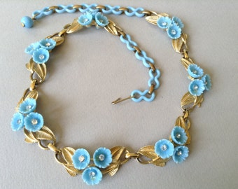 Coro Thermoset Blue Flower Gold Tone Leaf Choker/Necklace