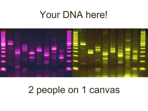 Custom dna canvas metal science wall art purple green by for Personalized dna art
