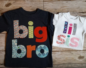 Big Bro Lil Sis Set-Big Bro Lil Sis-Sibling Shirts-Big Brother Little Sister Set-Big Brother Little Sister Outfit-New Baby Announcement