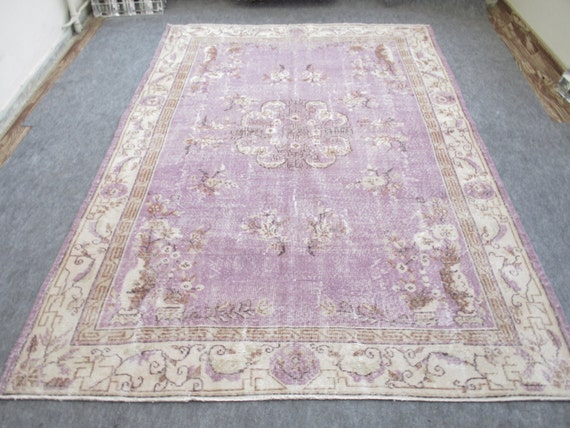 Vintage Anatolia Oushak Rug Turkish Handwoven Rug Carpet 9.9'  x  6.6'  feet Violet Color