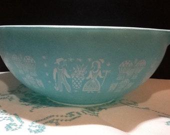 Rare Pyrex Bowl, Vintage Turquoise Pyrex 4 Quart Princess Bowl in Amish Butterprint