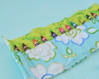 Crayon Roll - Green and Blue Garden - Crayon Roll Up - Crayon Holder