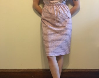 Two Piece Pale Pink and Grey Striped Outfit
