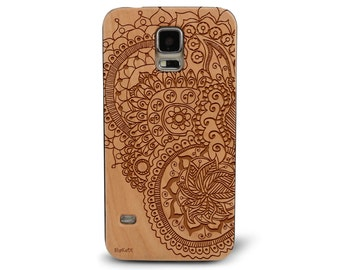 Laser Engraved Floral Leafy Plumeria Paisley Henna Tattoo Pattern on Genuine Wood Cell phone Case for Galaxy S5, S6 and S6Edge S-015