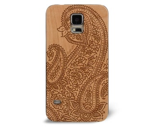 Genuine Wood Cell phone Case with Doodle Inspired Floral Leafy Paisley Pattern Laser Engraving for Galaxy S5, S6 and S6 Edge S-052