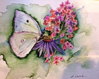 butterfly and flower watercolor