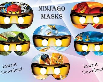 Instant Download - Ninjago masks , Ninjago Birthday ,Ninjago  party, Ninjago invitation, printable