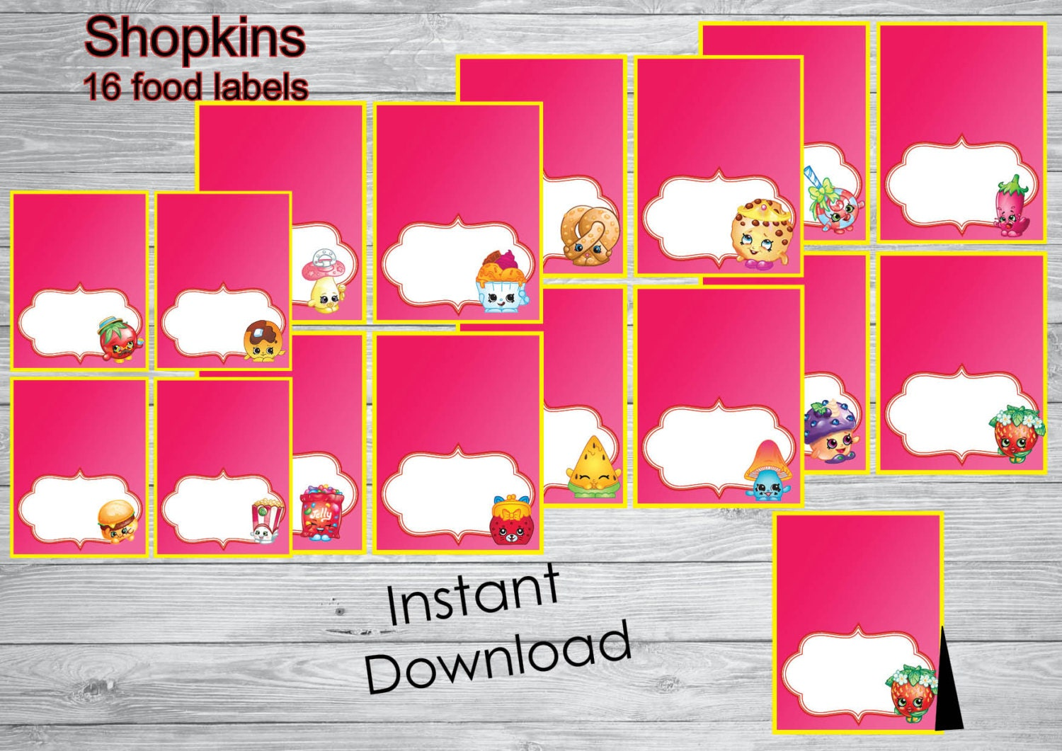 It is a picture of Witty Free Printable Shopkins Food Labels