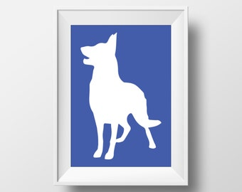 German Shepherd Silhouette Blue Printable Art, German Shepherd Print, Dog decor, Dog lover gift, German Shepherd art