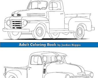 Digital Download Classic Trucks : Adult Coloring Book Colouring