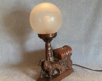 Accent Lamp - Covered Wagon - Western Theme - 1930s