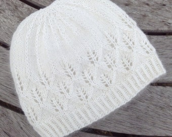 Pure cashmere cream beanie hat with lace detail by Willow Luxury ( one size)