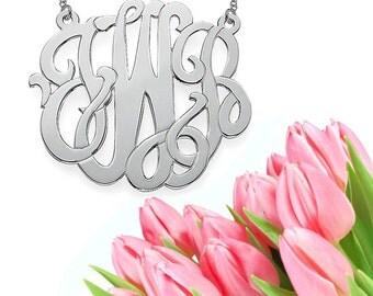 Grande Modern Monogram Necklace (silver) XL