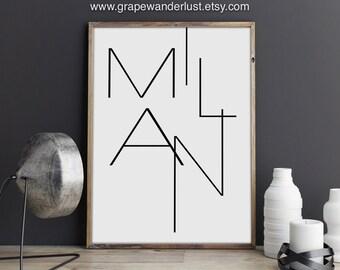 Milan art, Milan print, Italy print, Italy wall art, Italy art, Modern Minimalist, Black and white art, scandinavian modern, office décor