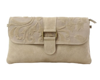 Woman's clutch, shoulder bag, handbag in genuine leather Made in Italy 10023 Taupe
