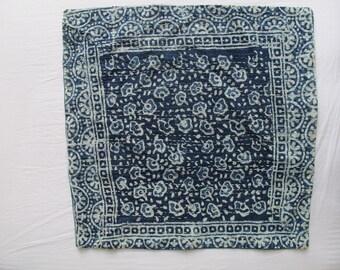 Hand printed Indigo Indian cushions, blue and white block print