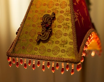 Kunming Delight, Asian Style Lampshade, Art Nouveau silk shade