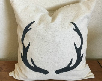 Antlers Pillow | Rustic Pillow Cover | Farmhouse Pillow | Multiple Sizes Available | Made To Order