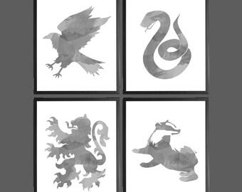Harry Potter Watercolor Modern Art Prints Grey 2 - Set of 4