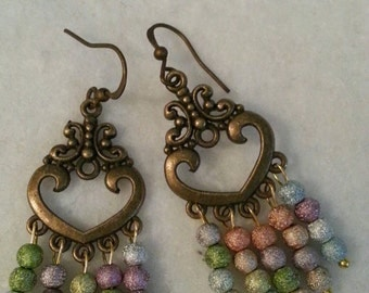 Antique gold chandelier earrings with multiple drops
