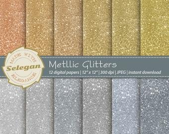 Metallic Glitters, Digital Paper, Scrapbook, Paper, 12x12, Printable, Glitter, Blinking, Pattern,Twinkle, Texture,Sparkle,Winter,Background,