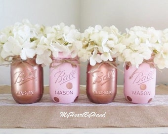 Pink and Rose Gold Gold Mason Jar Centerpieces, Baby Shower Mason Jars, Mason Jar Decor, Painted Ball Jars, Pink Polka Dots, Copper Finish