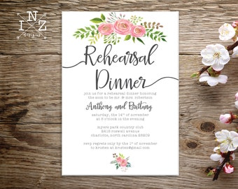Printable Rehearsal Dinner Invitation - Floral Rehearsal Dinner