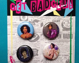 Prince 1 inch badge set of four