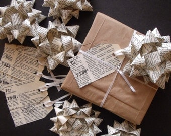Handmade Gift Bows & Tags set. Upcycled 1963 Dictionary Paper. 12 total items. Christmas Bows. Wrapping Gifts.