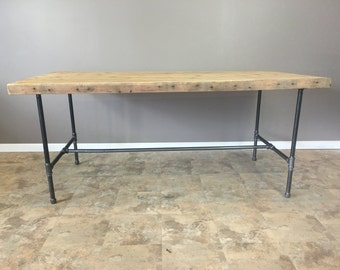 Dining Table W/ Industrial Piping Leg Base Modern Table, Reclaimed Wood Furniture, Kitchen Table