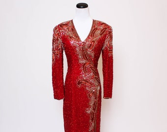 Vtg 80s 90s Sequin Beaded Open Back Trophy Red Silver Gold Slit Baroque Dynasty Dress S/M