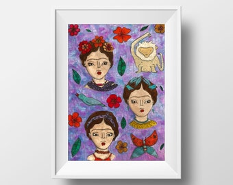 Quirky bird - Frida Kahlo (inspired) - Print