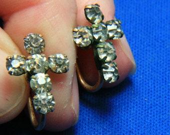 Vintage DeCurtis Gold Filled Rhinestone Cross Earrings