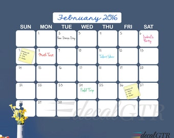 44x60 Dry-Erase Wall Calendar Vinyl Decal - Dry Erase Calendar Decal - White Board Monthly Wall Calendar - 5ft White Vinyl Sticker - D007B