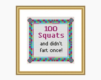 100 SQUATS - Cross stitch pattern, Modern cross stitch, Instant Download cross stitch chart PDF