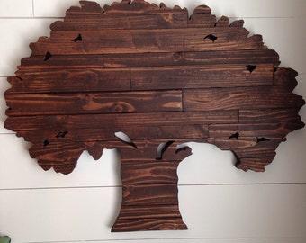 Rustic Repurposed Wood Tree Sign