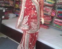 Wedding Dress Indian Pakistani Heavy Red Gota Patti Work Handmade Net Bridal Dulhan Ethnic Lehenga
