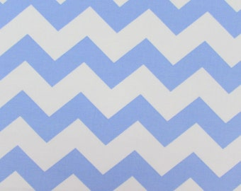 "Chevron, 1"" Light Blue Fabric By the Yard"