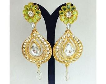 Indian Earrings Bollywood Jewelry India Women Fashion Earrings Statement Earrings Chandelier Earrings Dangle Earrings Drop Crystal Earrings