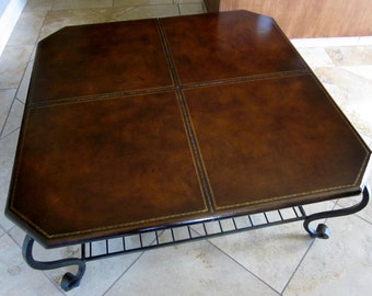 Vintage Handmade By A Blacksmith Wrought Iron Base And Leather Top Coffee Table Cowboy
