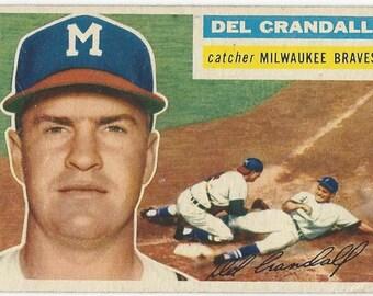 1956 Topps DEL CRANDALL Milwaukee BRAVES catcher original vintage baseball card number 175