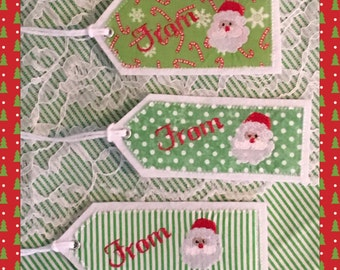 Personalized Gift Tag, Embroidered Christmas Stocking Tag, Santa Embroidered Gift Tag, FabricReusable  Embroidered Gift Tag