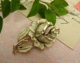 Vintage Rose Brooch, White Enamel Rose Brooch, Enamel Rose Brooch, Flower Brooch