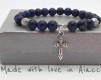 Bracelet beads lapis lazuli and cross