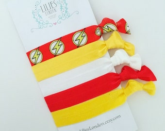 Superhero Crease Free Hair Ties/ Hairbands. Fold Over Elastic Hair Ties set of 5